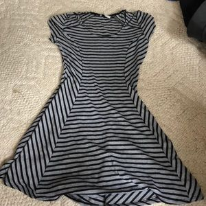 Black and grey striped skater dress